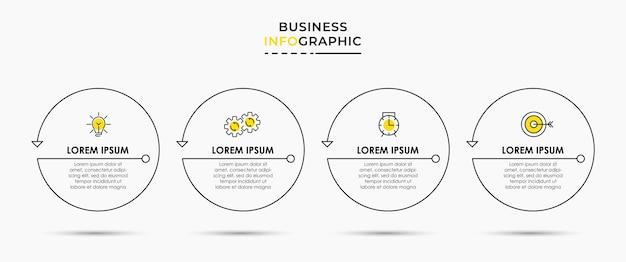 Vektor-infografik dünne linie design-business-vorlage mit symbolen und 4 optionen oder schritten