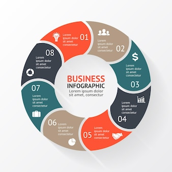 Vektor-infografik-präsentationsvorlage kreisdiagrammdiagramm 8 schritte teile