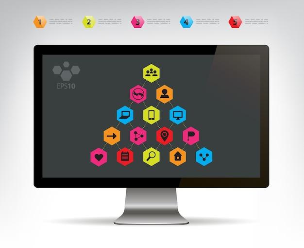 Vektor-infografik-pyramide für soziale verbindungen auf dem monitordisplay
