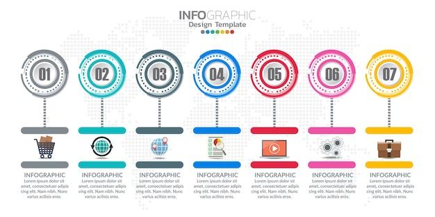 Vektor-infografik-timeline-design-vorlage mit symbolen und text-label.