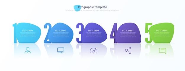 Vektor-infografik-vorlage bestehend aus fünf nummerierten abstrakten formen