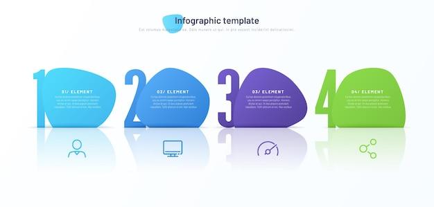 Vektor-infografik-vorlage bestehend aus vier nummerierten abstrakten formen