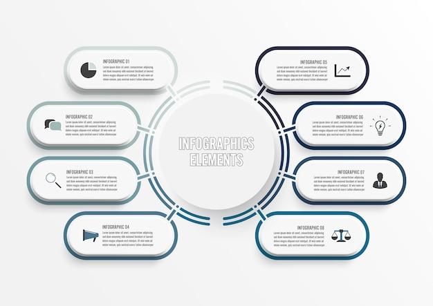 Vektor-infografik-vorlage mit papier. geschäft mit optionen.