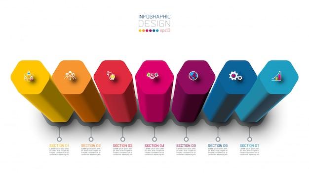 Vektor infographic-aufkleberdesign mit hexagonsäulendesign
