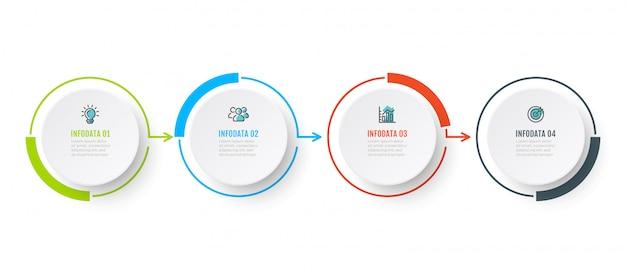 Vektor infographik diagrammdesign mit 4 option, schritt oder peocess. geschäftskonzept mit marketing-ikonen.