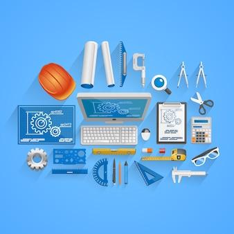 Vektor-ingenieur-werkzeuge-stil. illustrationskunst-symbol