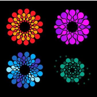 Vektor isoliert sonne logo design vorlage abstrakte punkte symbol symbol runde form bunte logos set