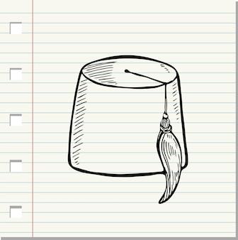 Vektor isoliert türkischer hut fez auf weißem hintergrund (doodle-stil)