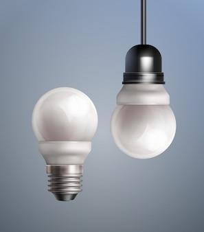 Vektor isolierte energiesparende led-lampen mit sockel auf farbigem hintergrund