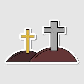 Vektor isoliertes kreuz auf dem friedhof aufkleber hügel mit kreuz silhouette dia de los muertos symbol