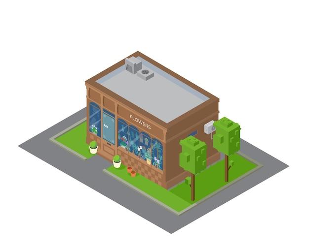 Vektor-isometrische blumenladen-gebäude mit schaufenster mit pflanzen und blumen.