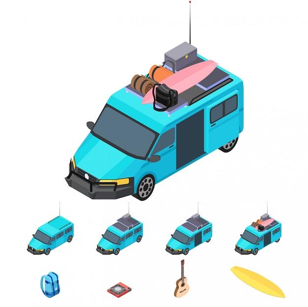 Vektor isometrischer blauer reisemobil