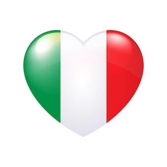 Vektor-italienische flagge in herz-unabhängigkeitstag von italien nationales patriotisches emblem oder aufkleber