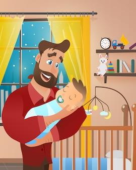 Vektor-junger bärtiger mann, der neugeborenes baby hält
