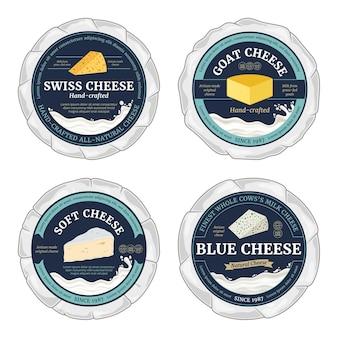 Vektor-käse-rundetiketten und käselaibe in papier eingewickelt