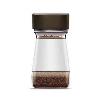 Vektor kaffee glas glas verpackungspaket isoliert auf weiß