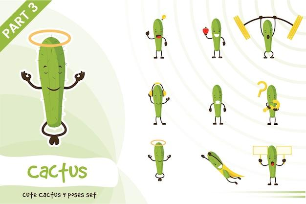 Vektor-karikatur-illustration des niedlichen kaktus-satzes