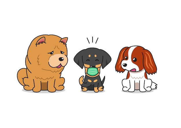 Vektor-karikaturcharakter-bulldogge, die schützende gesichtsmaske mit anderen hunden trägt