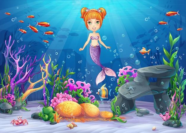 Vektor-karikaturillustration unterwasserwelt mit lustiger charakter-meerjungfrau umgab koralle, riff, felsen, fisch, krabbe, muschel