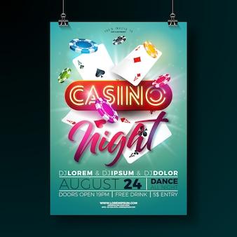 Vektor-kasinonachtplakatillustration mit spielendem design