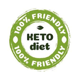 Vektor-keto-diät-ernährungs-vektor-abzeichen auf grüner organischer textur isoliert auf weißketogener ernährung