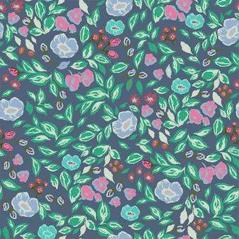 Vektor klassische und retro-rosenblumen botanische illustration motiv nahtloses wiederholungsmuster digital