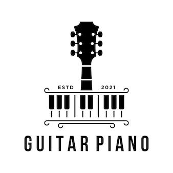 Vektor-klaviergitarre-logo-vorlage einfaches design