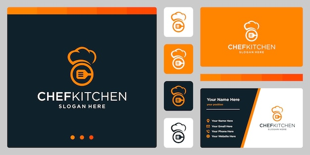 Vektor-kochmütze-logo-design-vorlage mit küchenutensilien-logo. visitenkarten-design