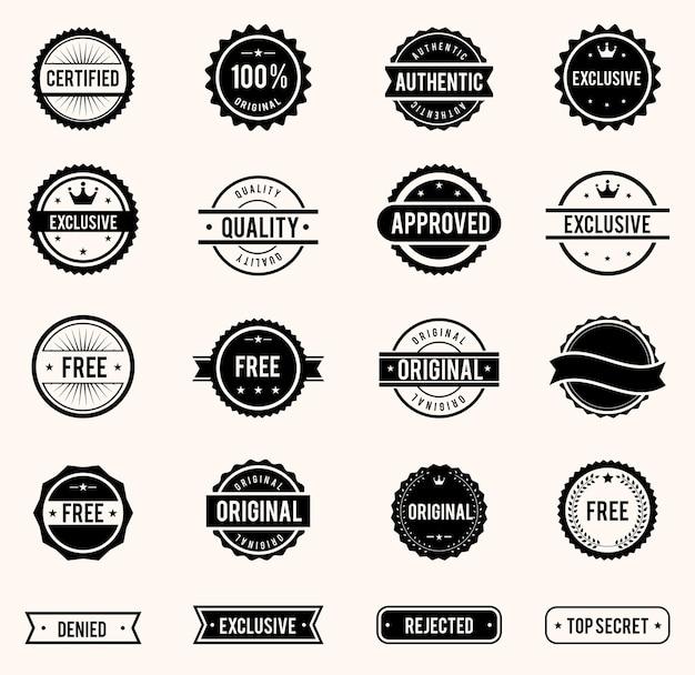 Vektor kommerzielle briefmarken im vintage-stil für geschäft und design gesetzt