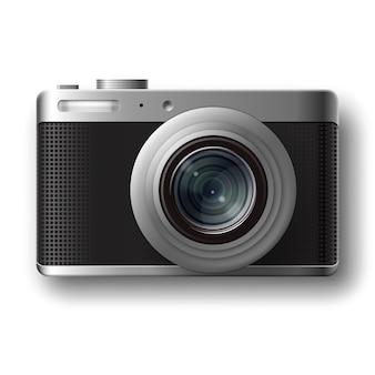 Vektor kompakte fotokamera draufsicht lokalisiert auf weißem hintergrund