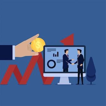 Vektor-konzeptmanagerhändedruck des geschäfts flacher mit investorenmetapher der investition.