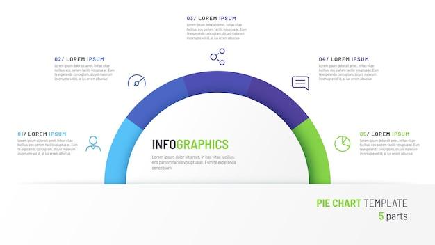 Vektor-kreisdiagramm-infografik-vorlage in form eines halbkreises, geteilt durch fünf teile