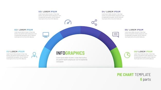 Vektor-kreisdiagramm-infografik-vorlage in form eines halbkreises, geteilt durch sechs teile