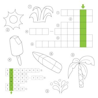 Vektor-kreuzworträtsel für kinder. thema sommer. sommer sachen. malbuch für kinder im vorschul- und schulalter. mit der antwort.