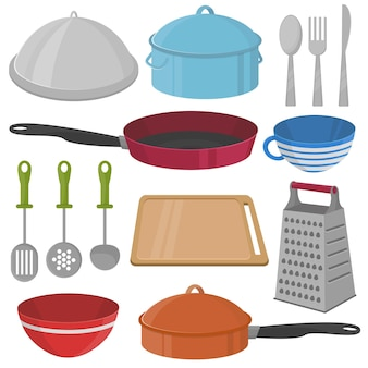 Vektor-küchengeschirr und kochgeräte-icon-set - bratpfanne, tasse, pfanne, schüssel, brett usw