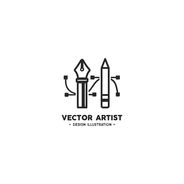 Vektor-künstler-logo-vorlage. bleistift- und stiftwerkzeug
