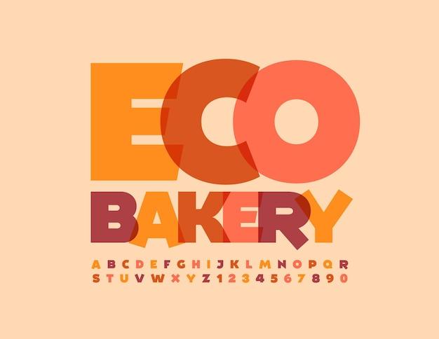 Vektor künstlerische emblem eco bakery kreative trendige schriftart aquarell alphabet buchstaben und zahlen gesetzt