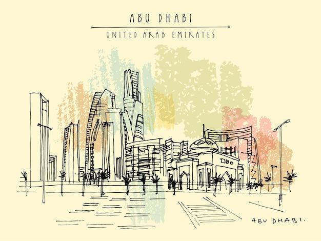 Vektor künstlerische postkarte abu dhabi, vereinigte arabische emirate. panorama der wolkenkratzer der innenstadt. handzeichnung. reiseskizze. touristische grußkarte der weinlese horizontales format, plakat, broschürenillustration