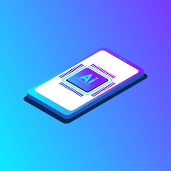 Vektor künstliche intelligenz cpu auf dem smartphone