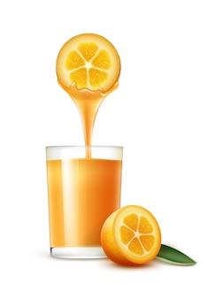Vektor kumquat scheibe mit saftstrom und glas lokalisiert auf weißem hintergrund