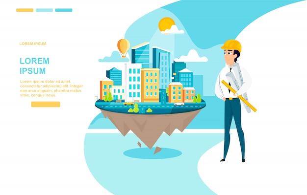 Vektor-landing-seite des architekten-erfolgreiche arbeit