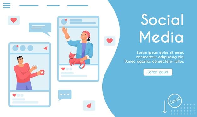 Vektor-landingpage des social-media-konzepts