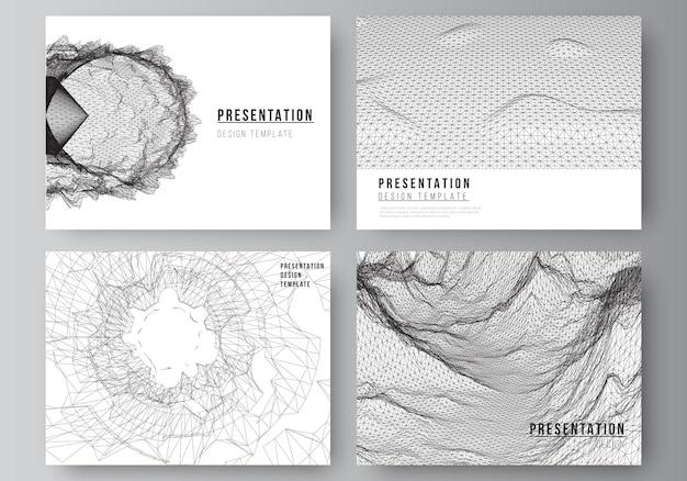 Vektor-layout der präsentationsfolien-design-business-vorlagen-vorlage für broschüren-cover-geschäftsbericht abstrakte d digitale hintergründe für futuristisches minimalistisches technologiekonzept