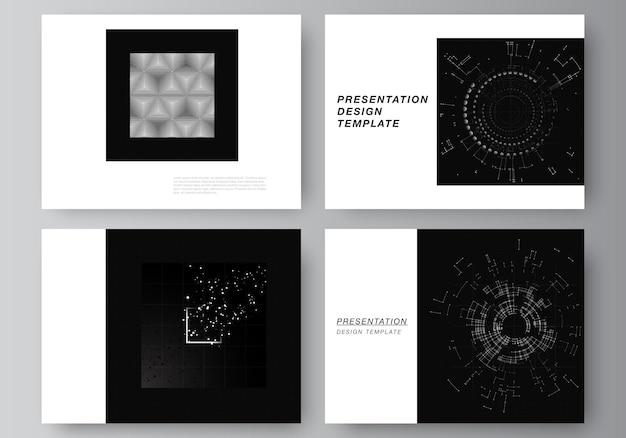 Vektor-layout der präsentationsfolien-design-vorlagen für die präsentationsbroschüre broschürenabdeckung schwarzer technologiehintergrund digitale visualisierung des wissenschaftlichen medizintechnologiekonzepts