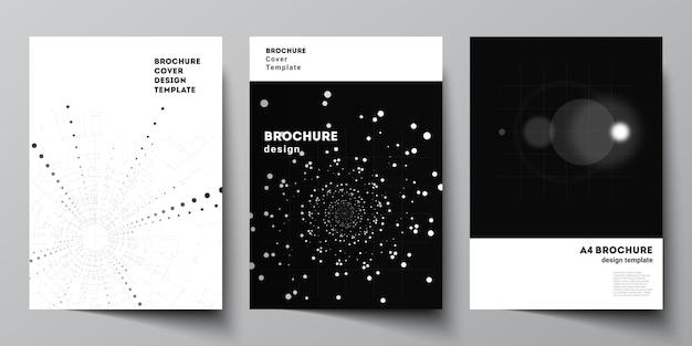 Vektor-layout einer cover-design-vorlage für broschüren-flyer-layout-booklet-cover-design-buchdesign schwarze farbe technologiehintergrund digitale visualisierung des wissenschaftsmedizin-tech-konzepts