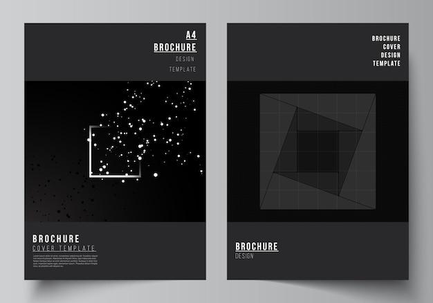 Vektor-layout eines cover-design-vorlagen für broschüren-flyer-layout-booklet-cover-design buchdesign schwarze farbe technologie hintergrund digitale visualisierung des wissenschaftsmedizin-tech-konzepts