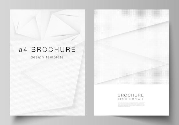 Vektor-layout eines cover-modells design-vorlagen für broschüren-flyer-layout-cover-design-buch-design-broschüren-cover halbton gepunkteter hintergrund mit grauen punkten abstrakten farbverlauf-hintergrund