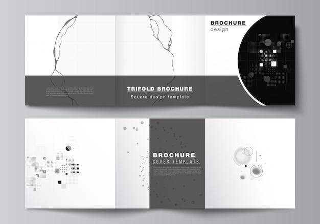 Vektor-layout von quadratischen cover-vorlagen für dreifach gefaltete broschüren, flyer, zeitschriften, cover-design, buchdesign. wissenschaftlicher hintergrund der abstrakten technologie schwarzer farbe. digitale daten. minimalistisches hightech-konzept