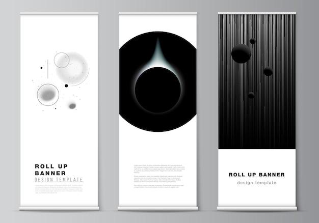 Vektor-layout von roll-up-mockup-designvorlagen für vertikale flyer flaggen designvorlagen banner s ...