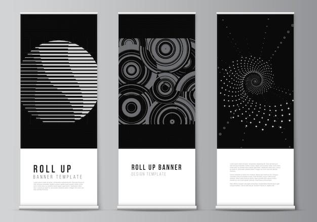 Vektor-layout von roll-up-mockup-vorlagen für vertikale flyer flaggen design-vorlagen banner steht werbung abstrakte technologie schwarze farbe wissenschaft hintergrund digitale daten high-tech-konzept